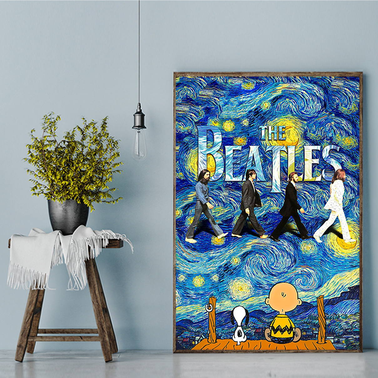 Snoopy charlie brown the beatles starry night van gogh poster A1