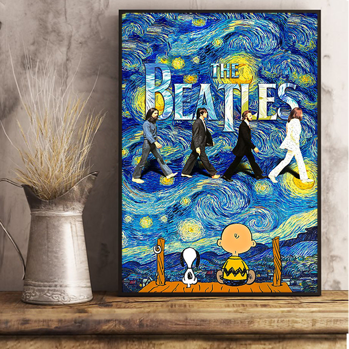 Snoopy charlie brown the beatles starry night van gogh poster A2