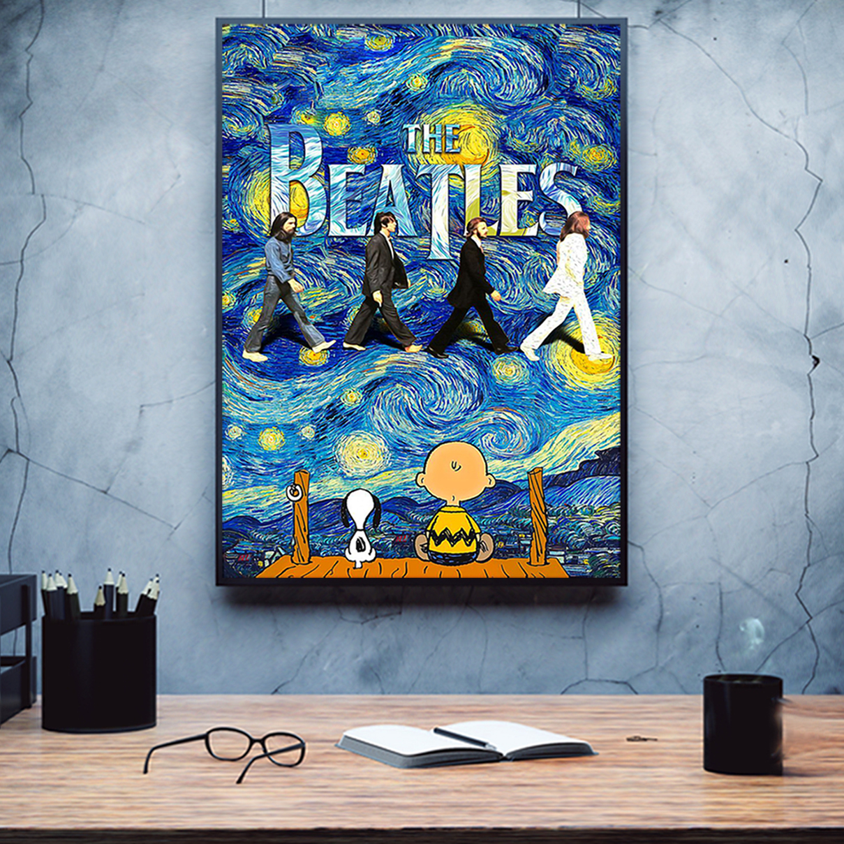 Snoopy charlie brown the beatles starry night van gogh poster A3
