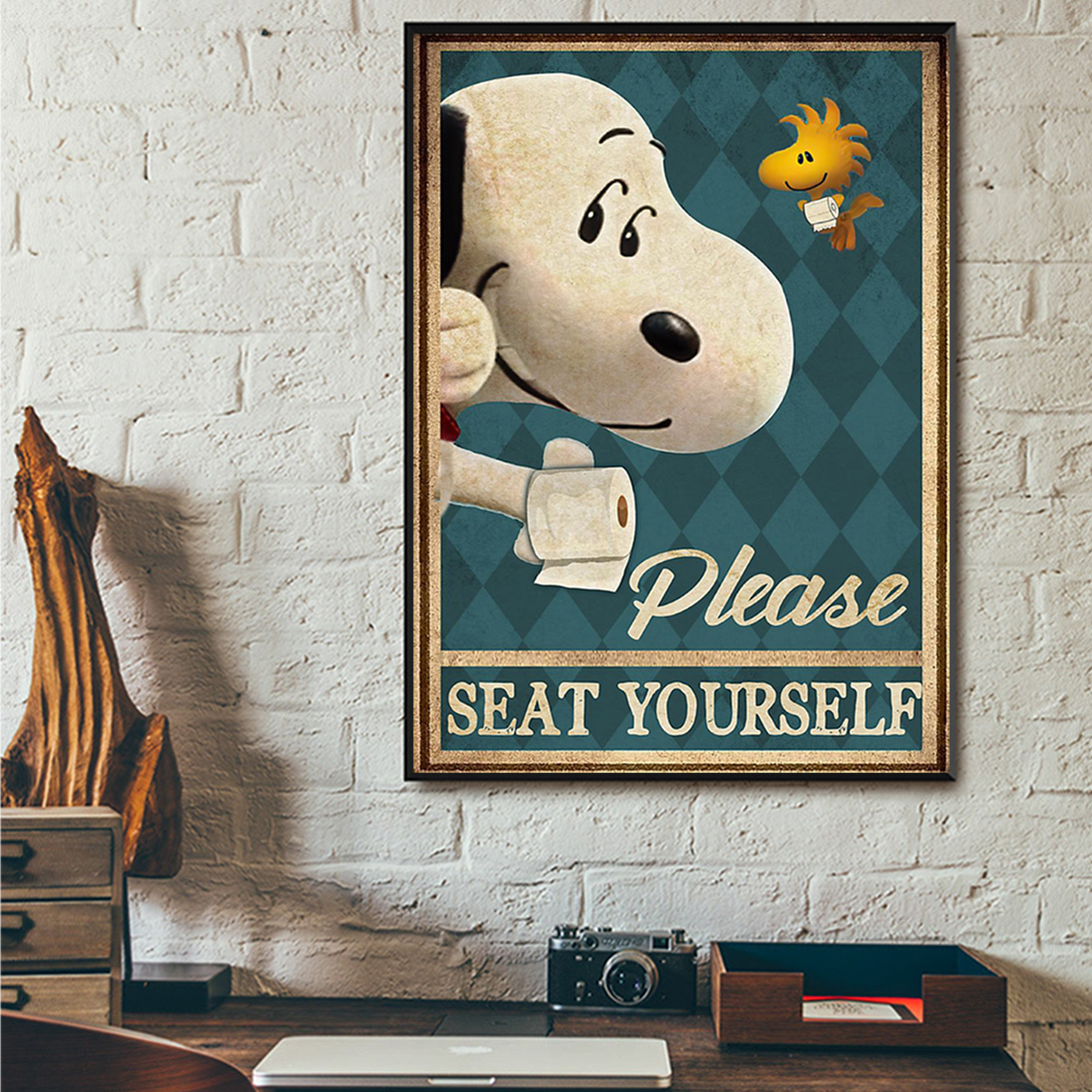 Snoopy please seat yourself poster A1
