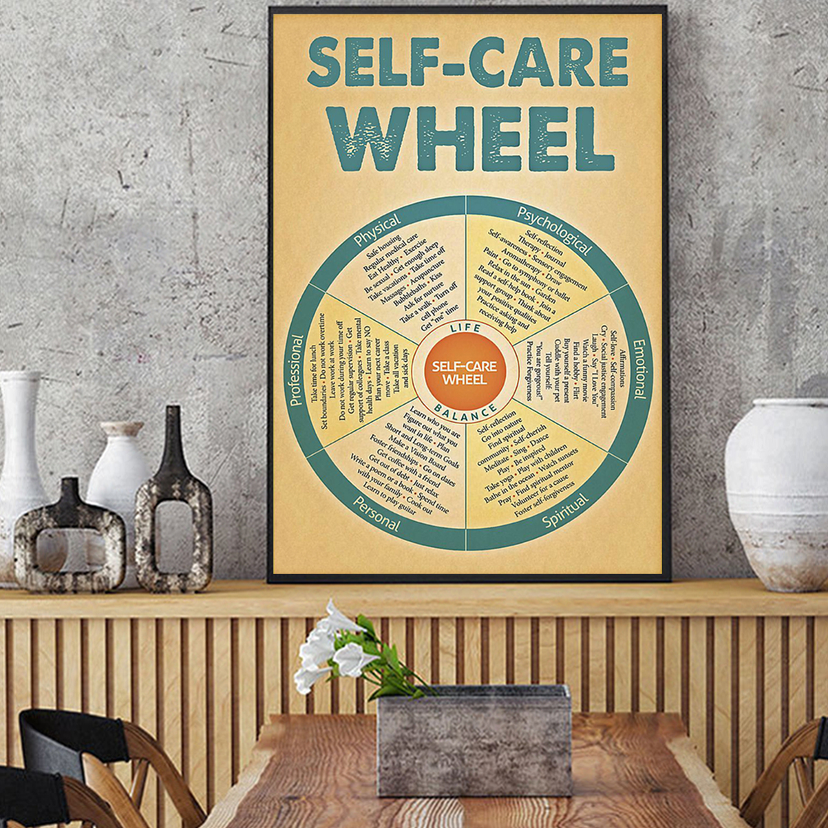 Social worker self-care wheel poster A1