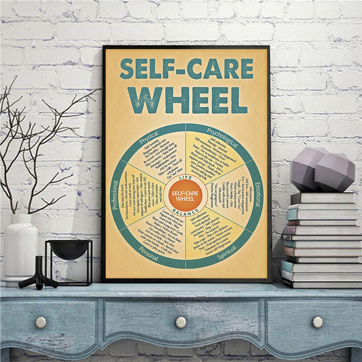 Social worker self-care wheel poster A2