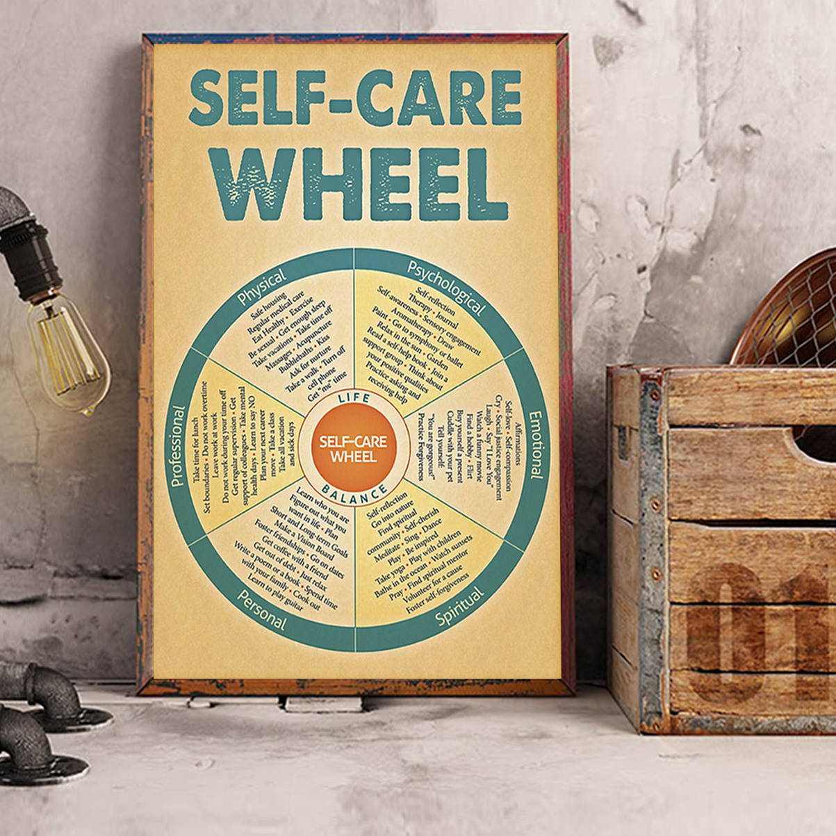 Social worker self-care wheel poster A3