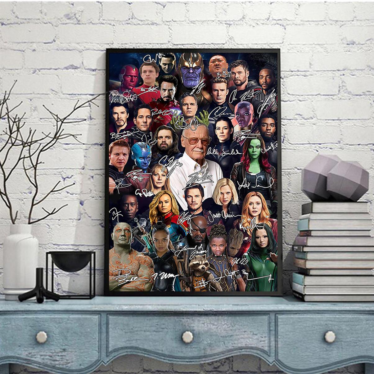 Stan lee all actors signature poster A3