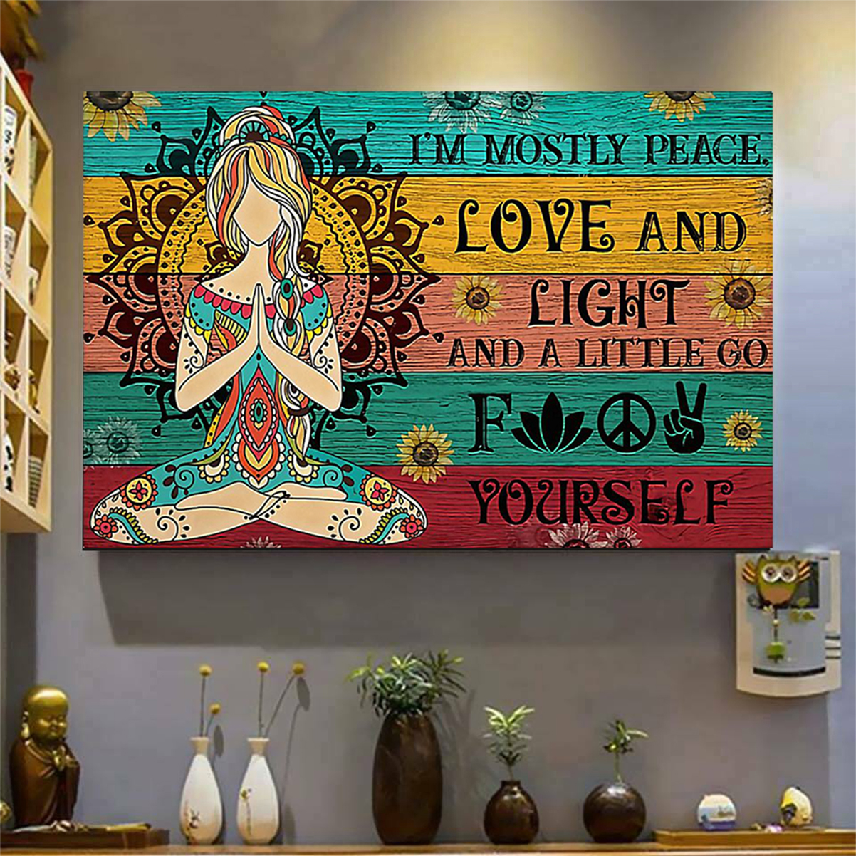 Sunflower yoga girl I am mostly peace love and light poster A2