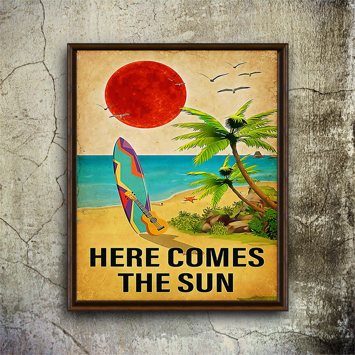 Surfing here comes the sun poster A1