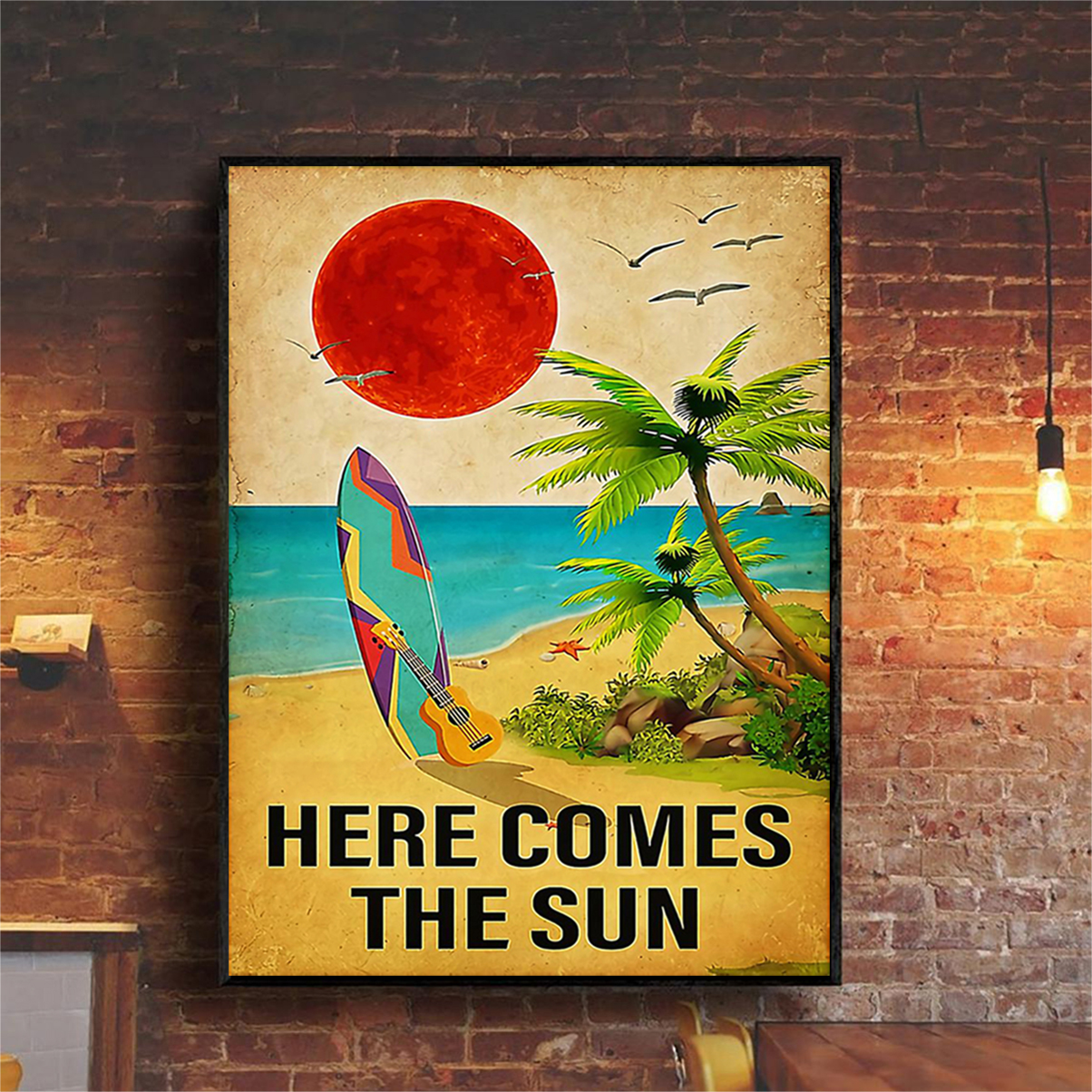 Surfing here comes the sun poster A2