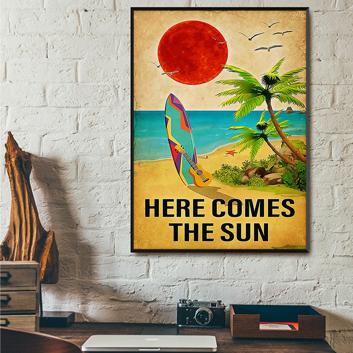 Surfing here comes the sun poster A3