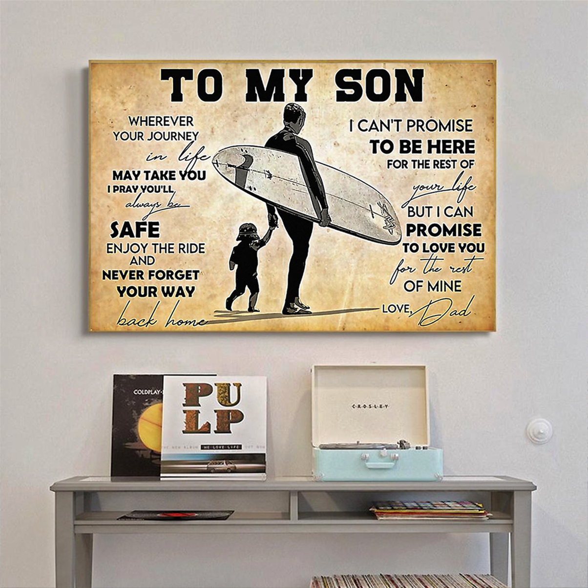 Surfing to my son dad poster A1