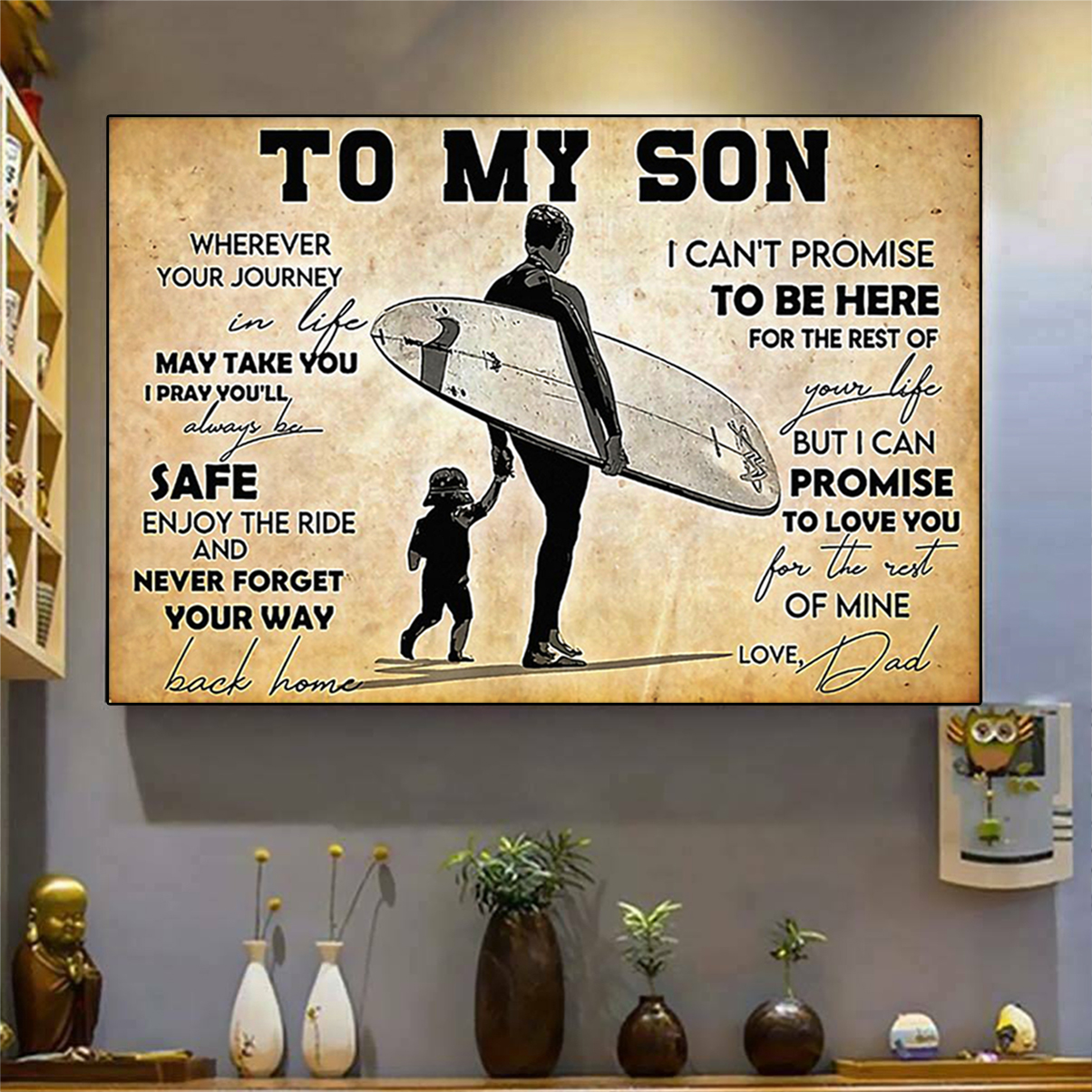 Surfing to my son dad poster A3