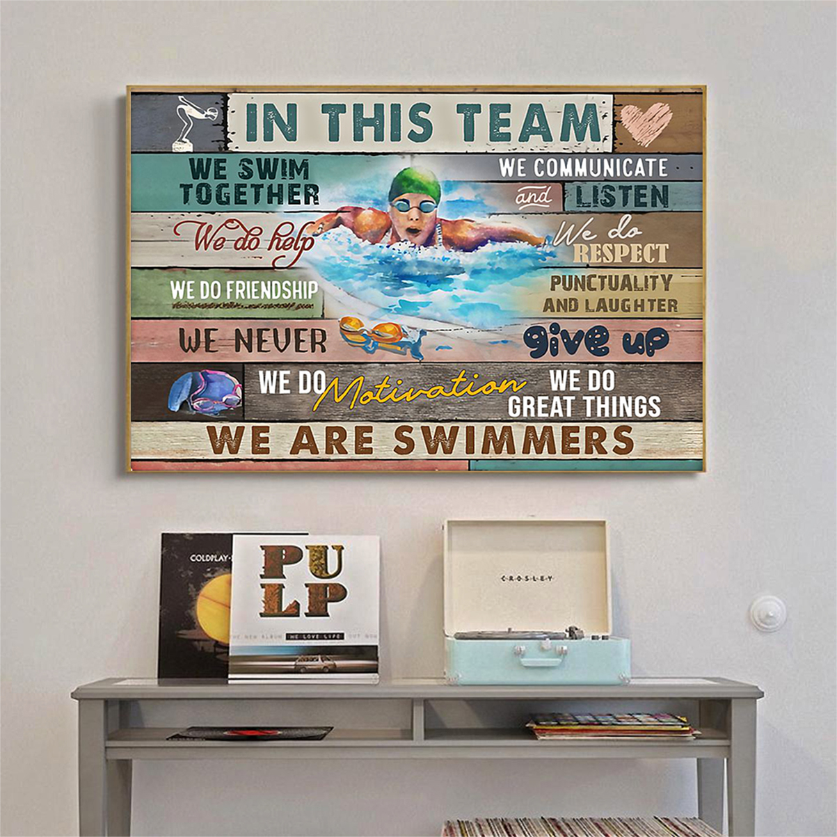 Swimming in this team poster A2