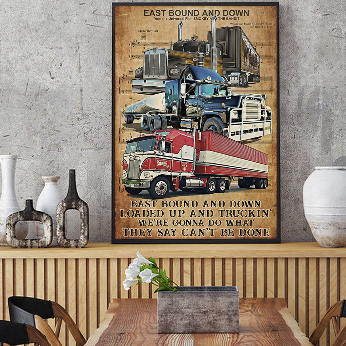 Trucker east bound and down poster A2