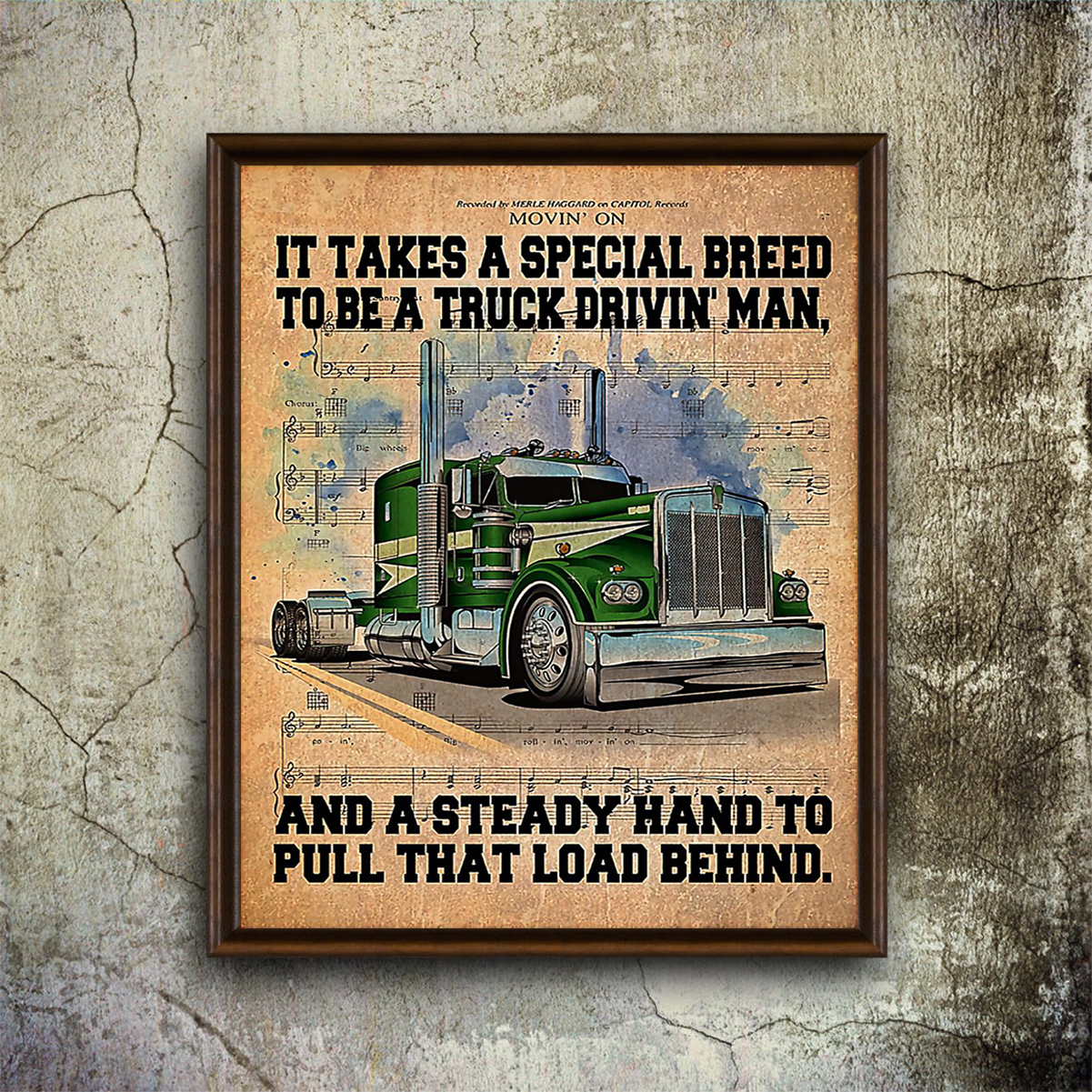 Trucker it take a special breed to be a truck drivin' man poster A1