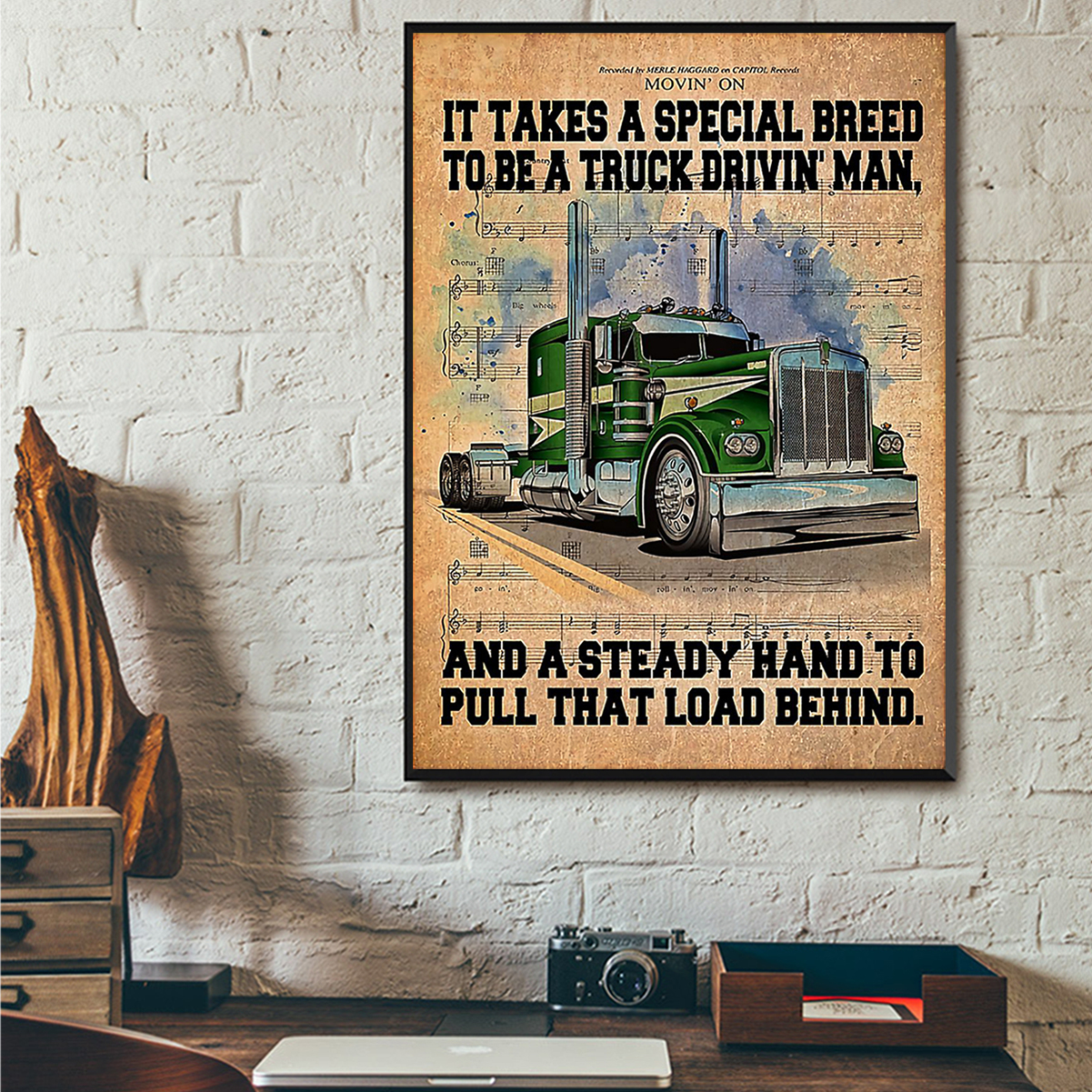 Trucker it take a special breed to be a truck drivin' man poster A3