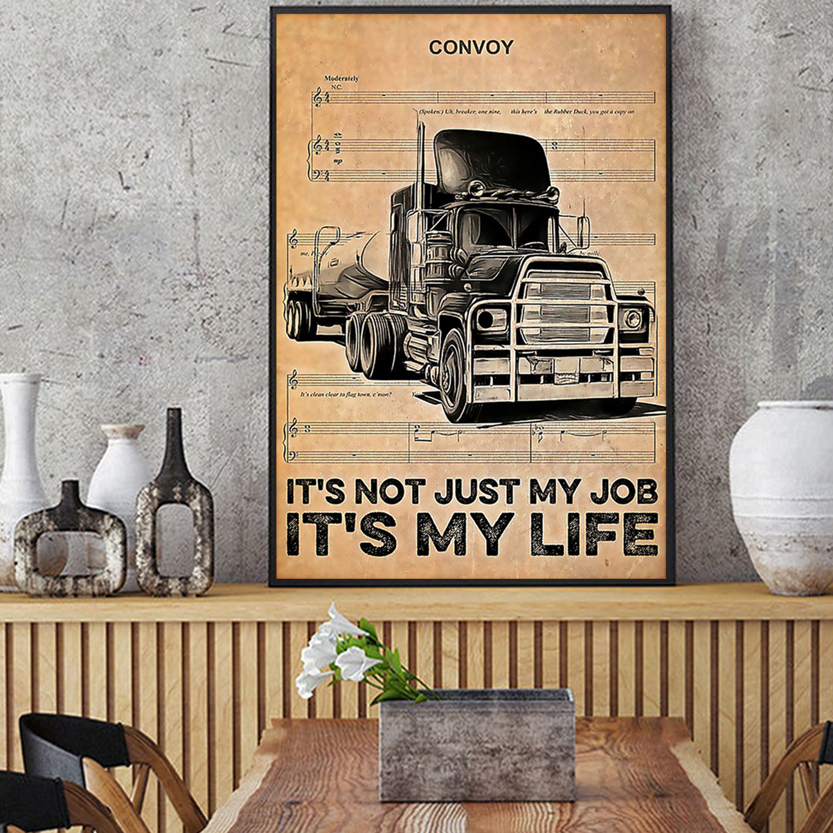 Trucker it's not just my job it's my life poster A2