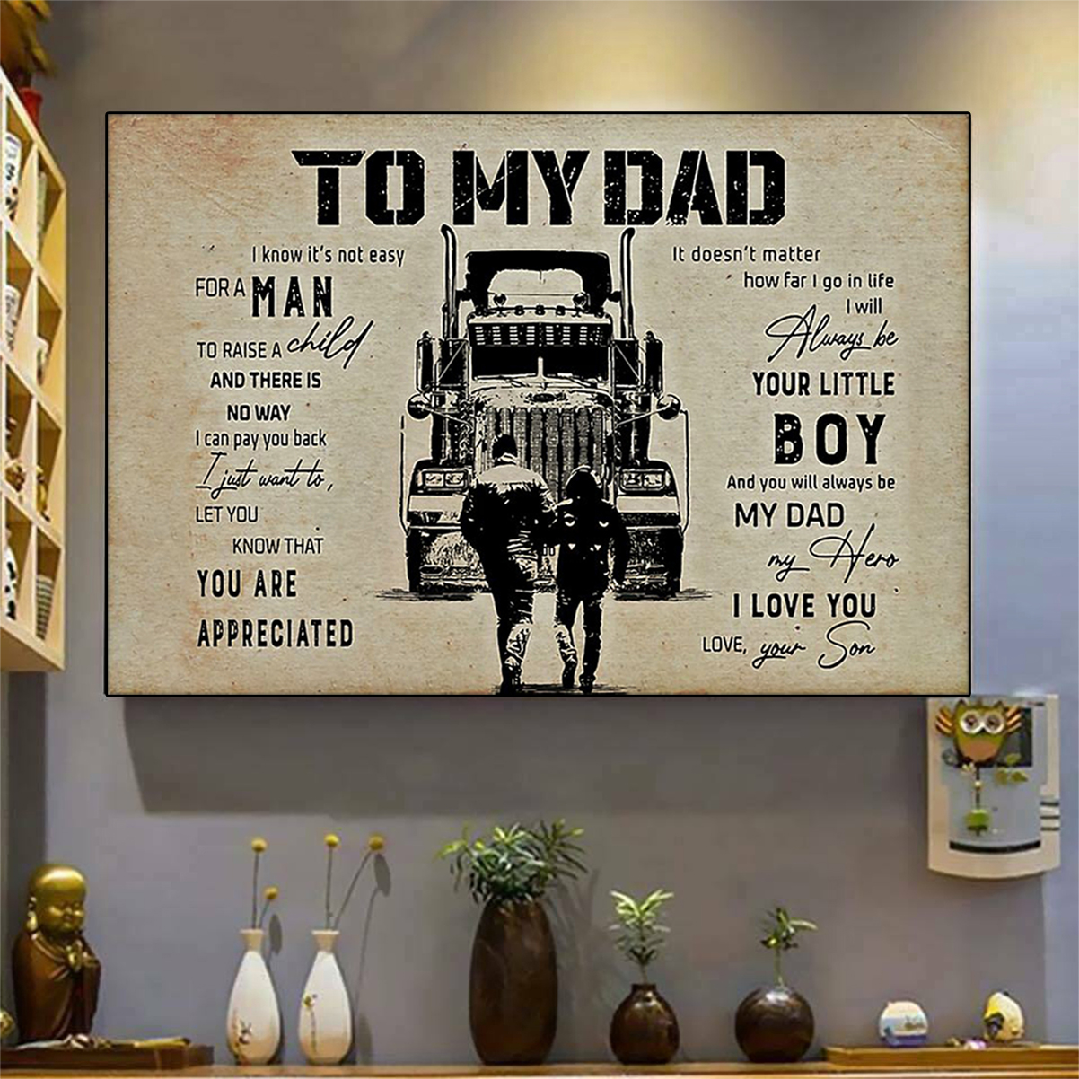 Trucker to my dad son poster A2