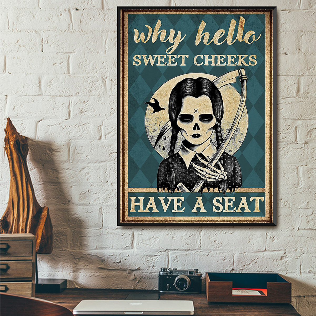 Wednesday addams why hello sweet cheeks poster A3