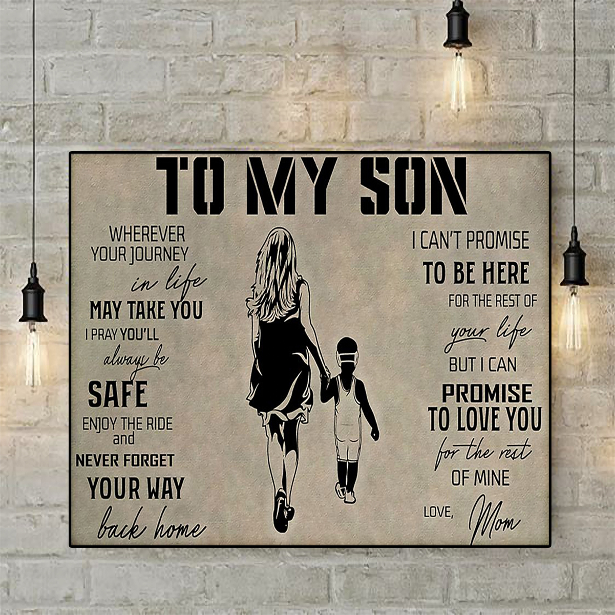 Wrestling to my son love mom poster A1