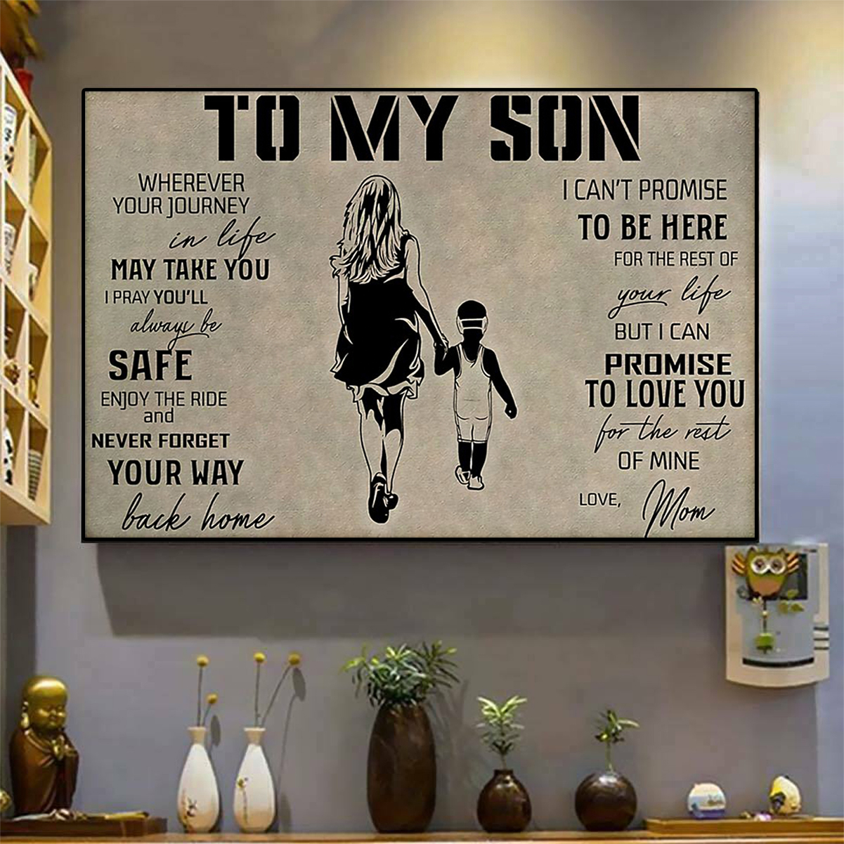 Wrestling to my son love mom poster A2