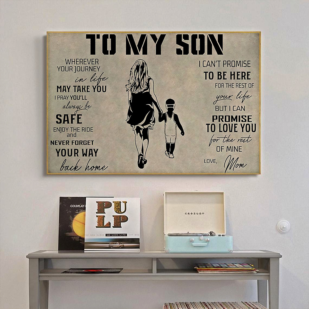 Wrestling to my son love mom poster A3