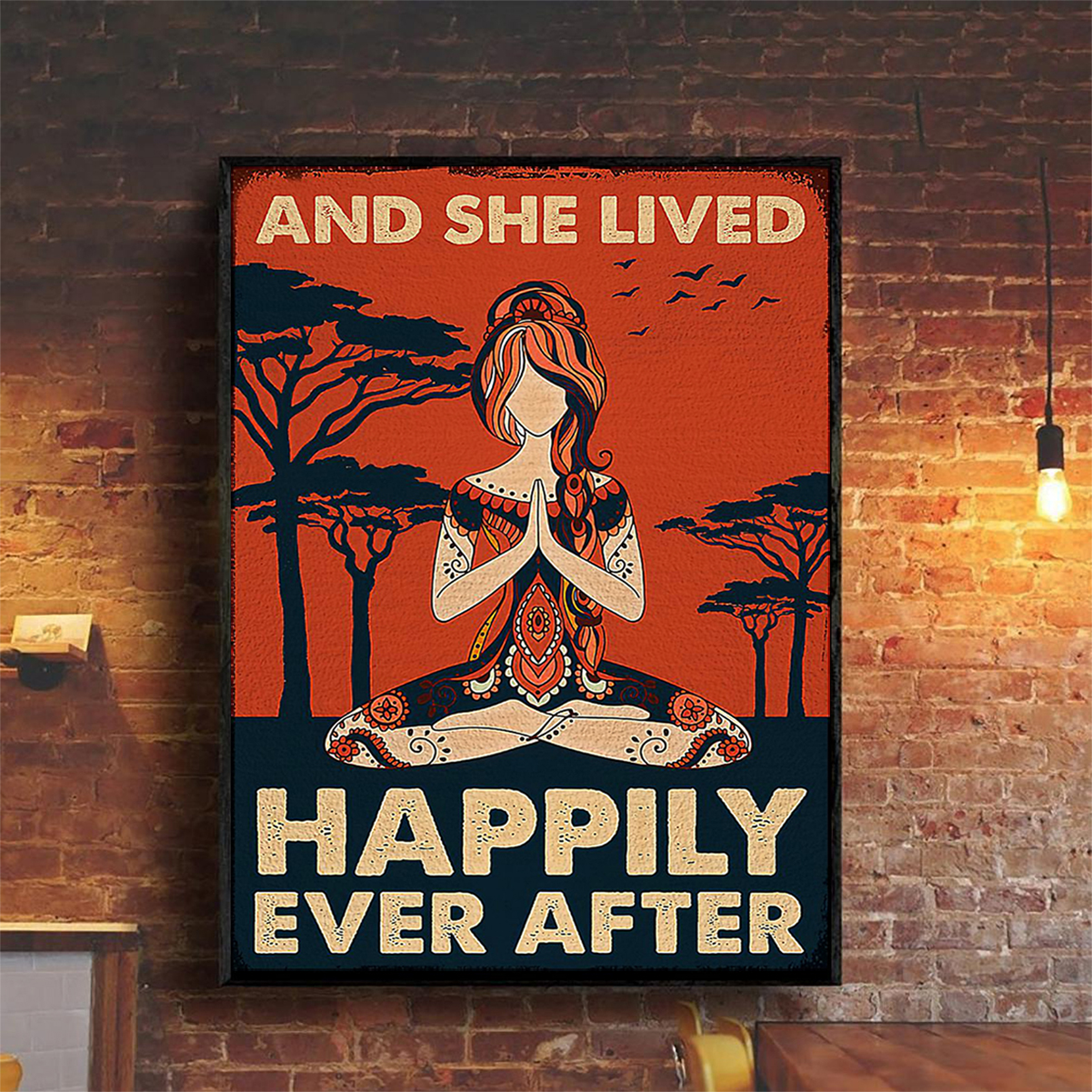 Yoga girl and she lived happily ever after poster A2