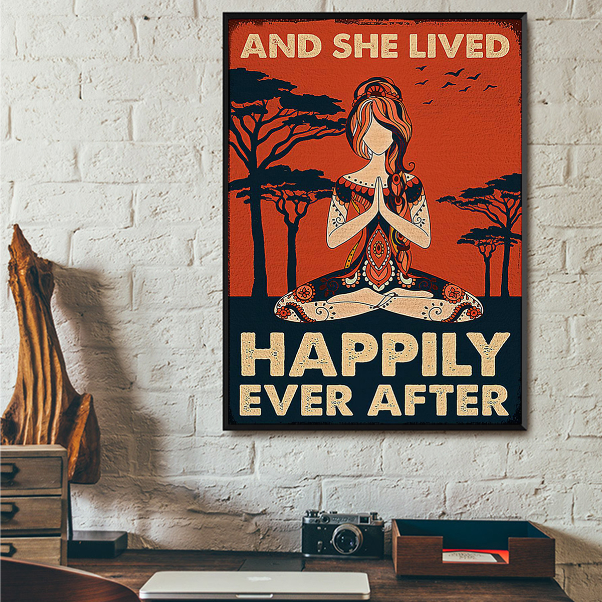 Yoga girl and she lived happily ever after poster A3