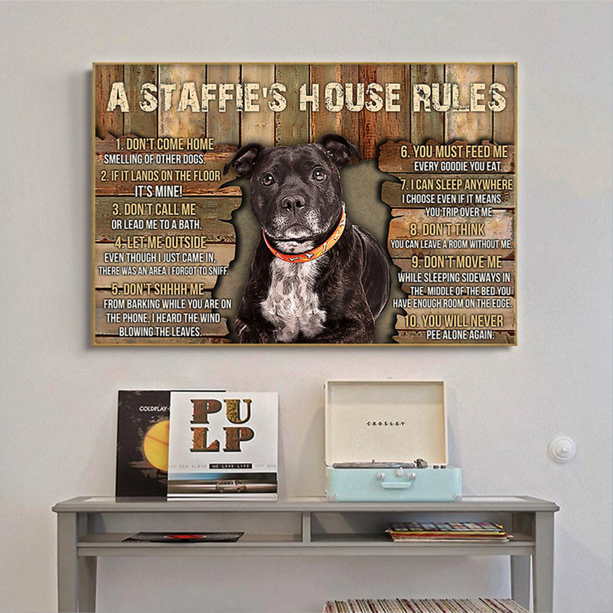 A staffie's house rules poster A1
