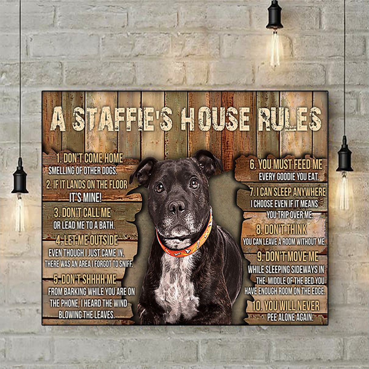 A staffie's house rules poster A2
