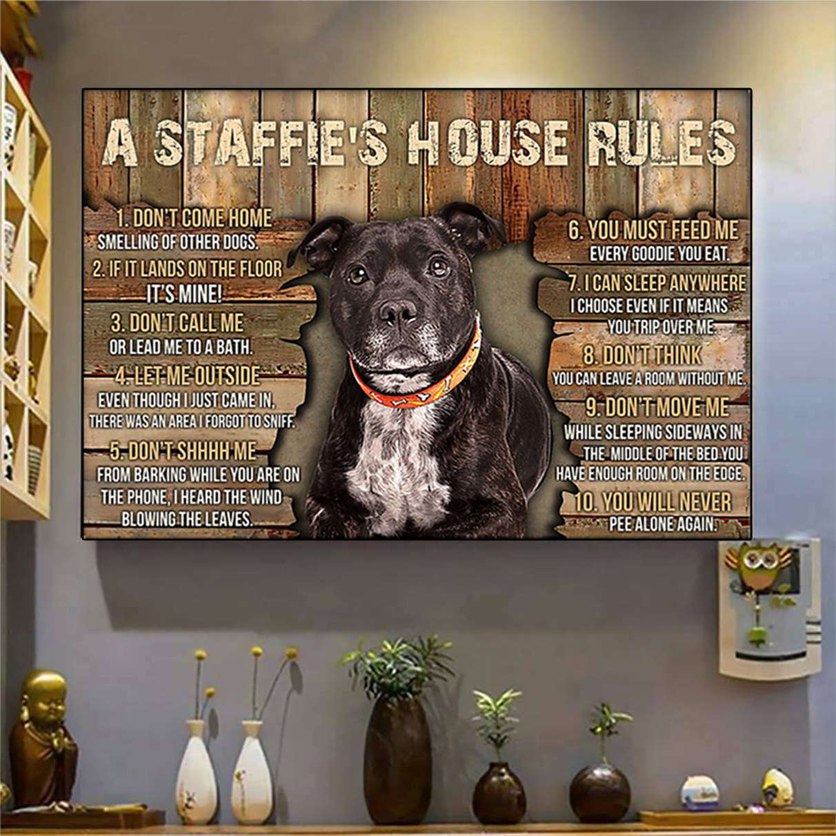 A staffie's house rules poster A3