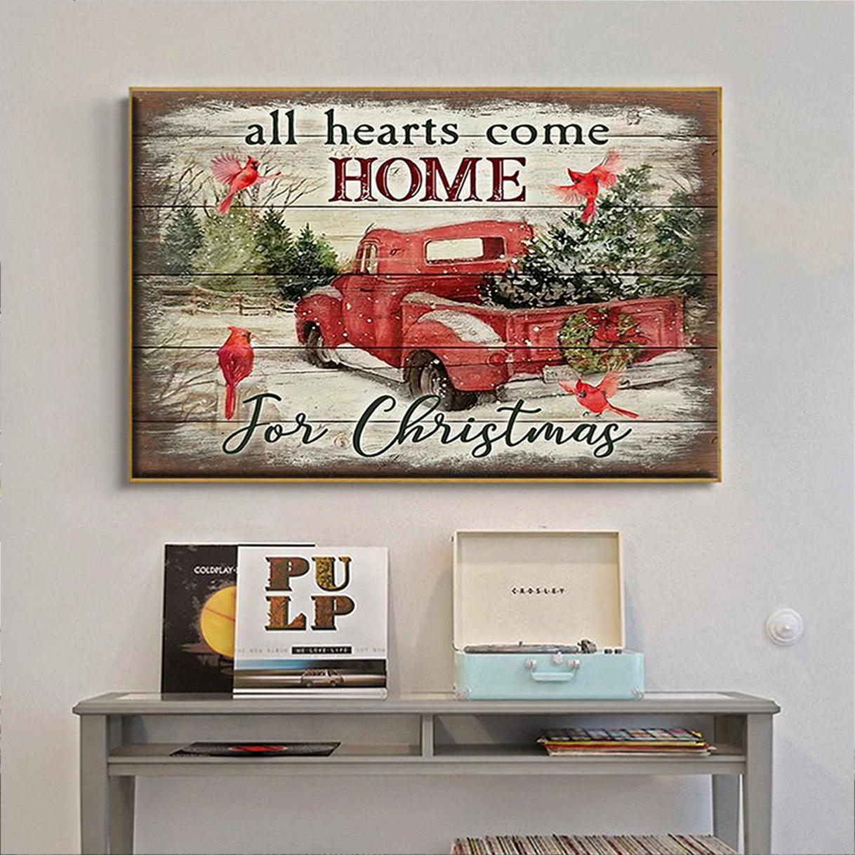 All hearts come home for christmas canvas prints small