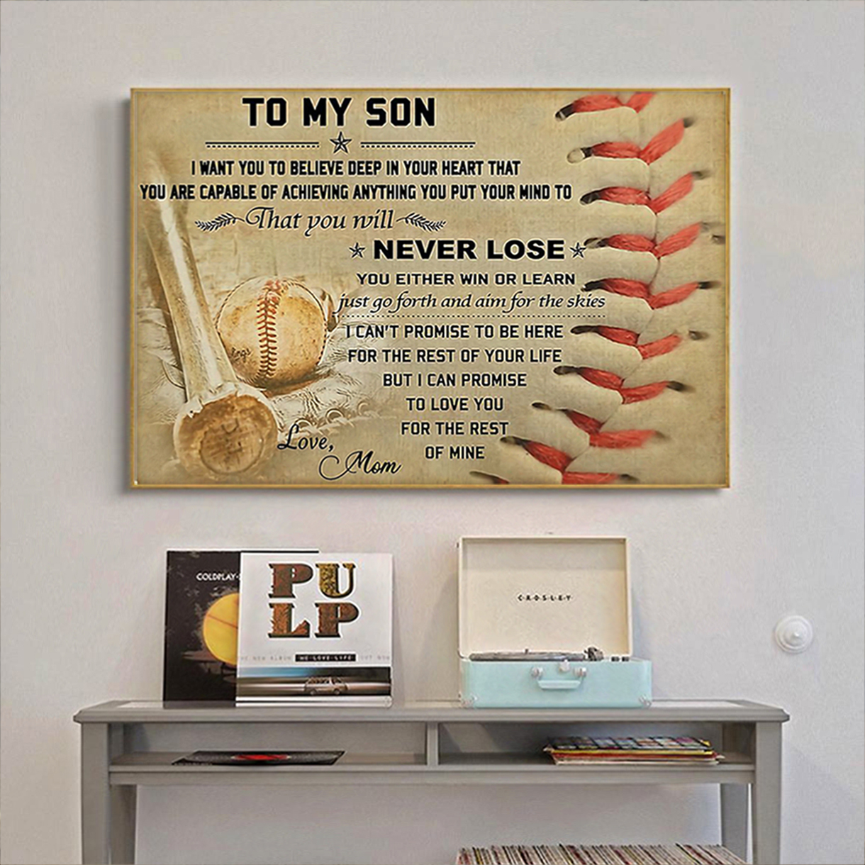 Baseball mom to my son poster A1
