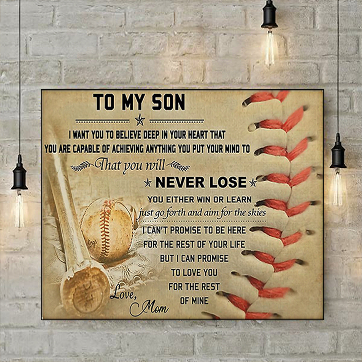 Baseball mom to my son poster A2