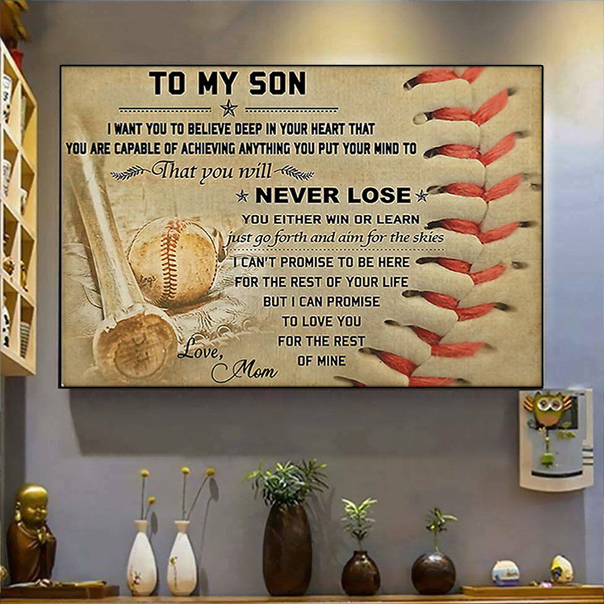 Baseball mom to my son poster A3