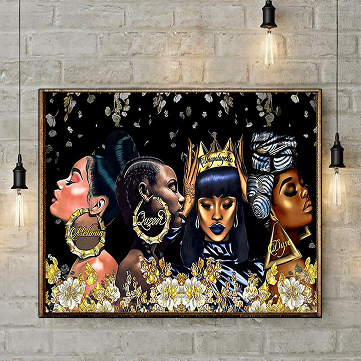 Black woman melanin queen unapologetic dope poster A3