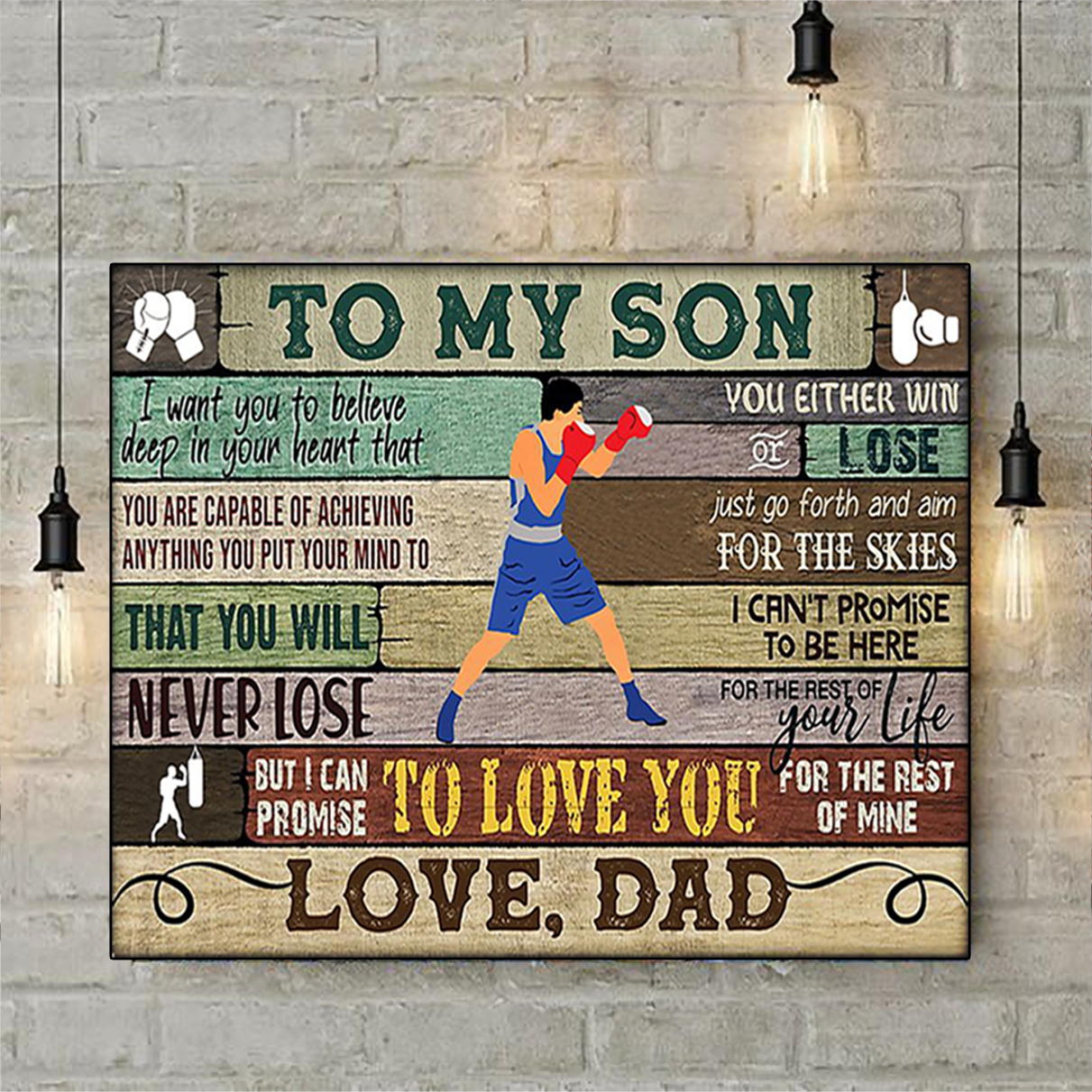 Boxing to my son dad poster A1