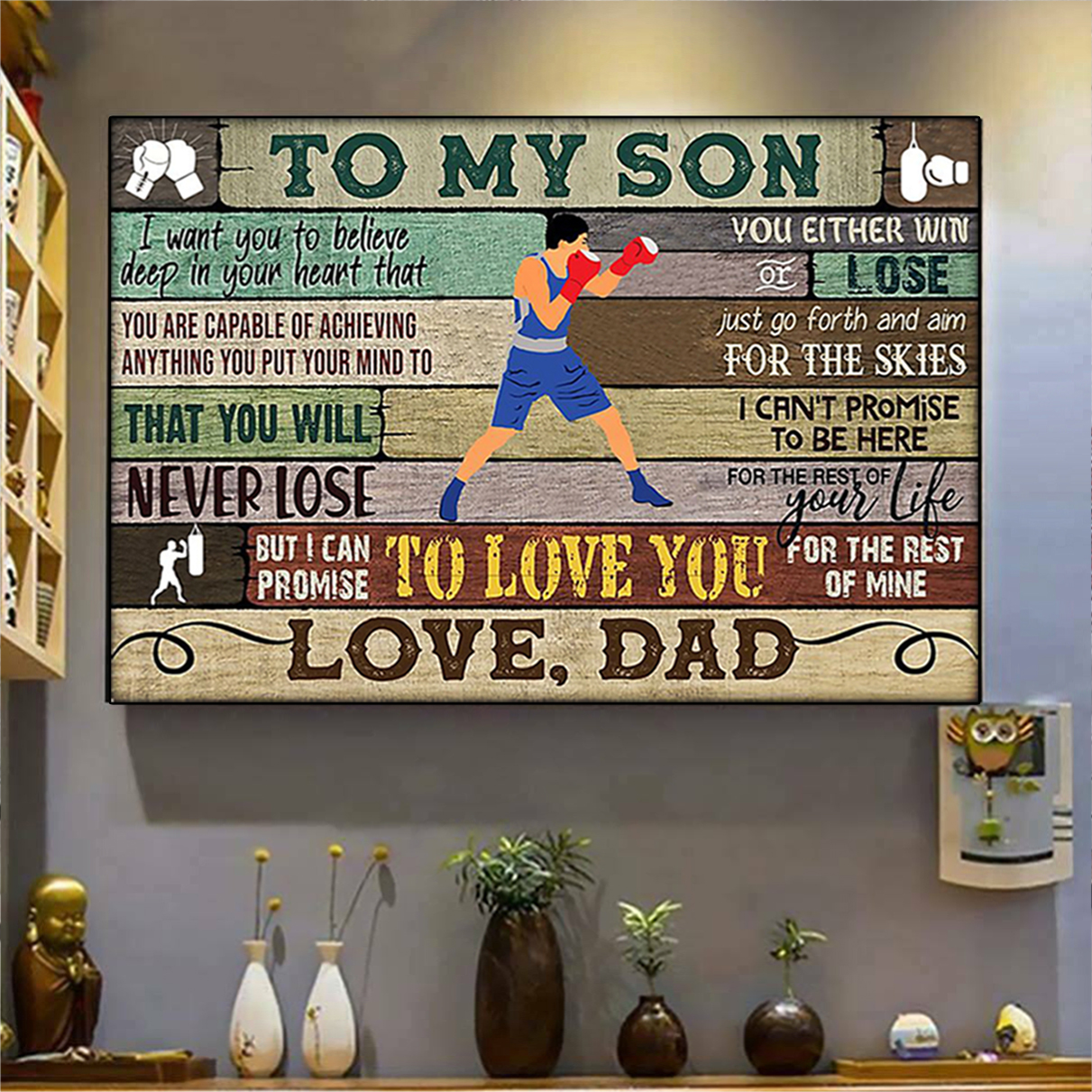 Boxing to my son dad poster A2