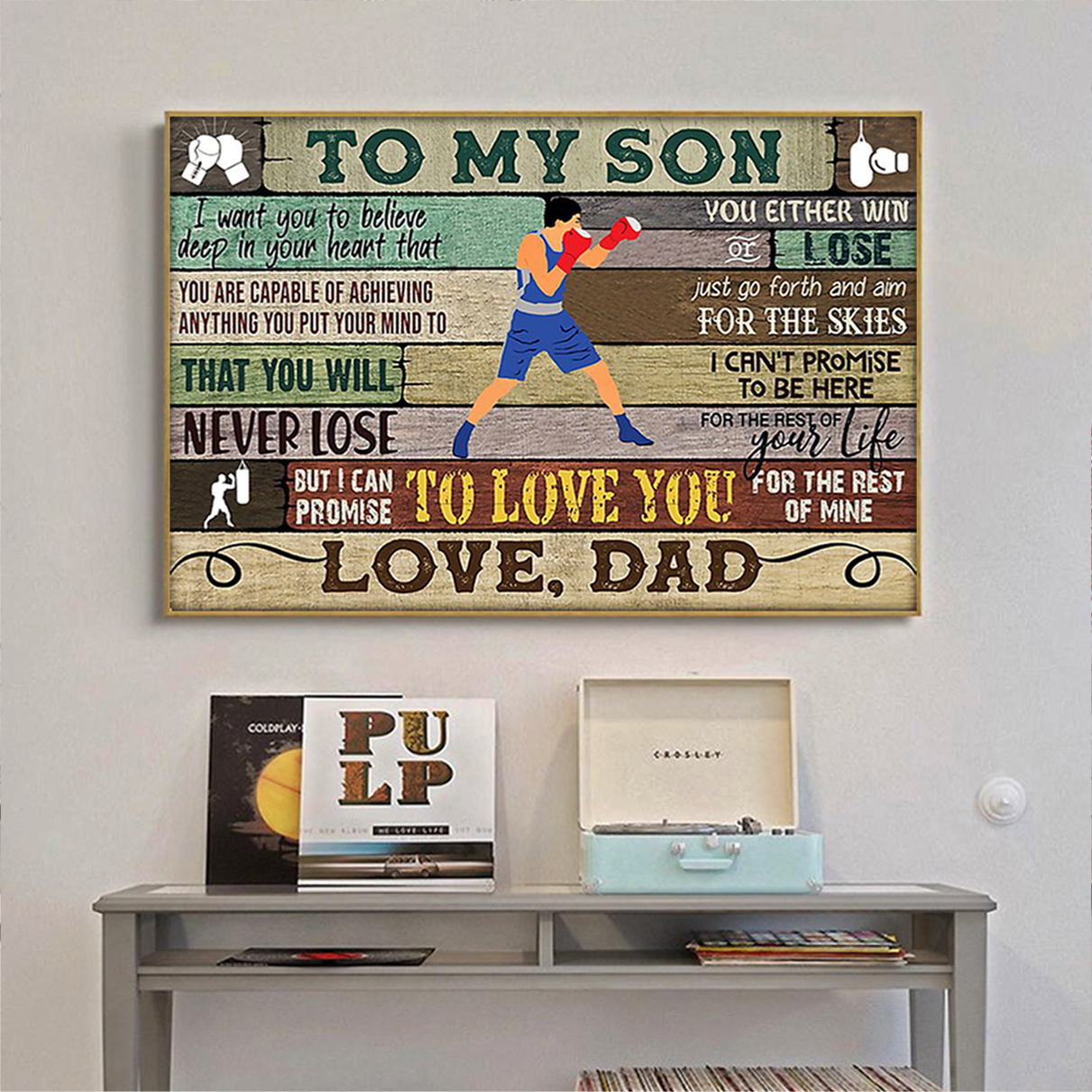 Boxing to my son dad poster A3
