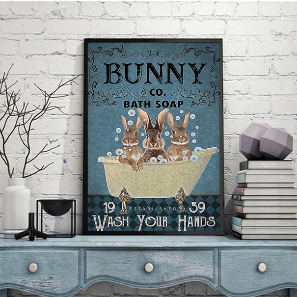Bunny co bath soap wash your hands poster A1