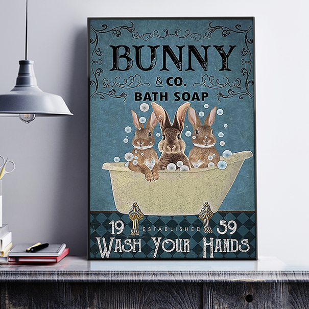 Bunny co bath soap wash your hands poster A2