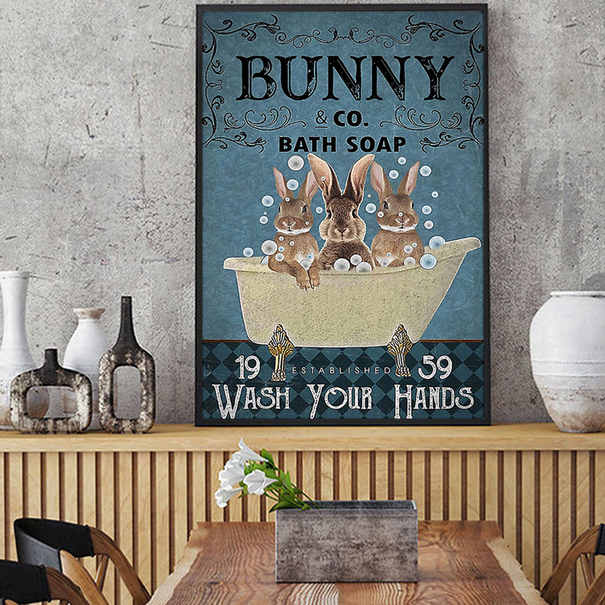 Bunny co bath soap wash your hands poster A3
