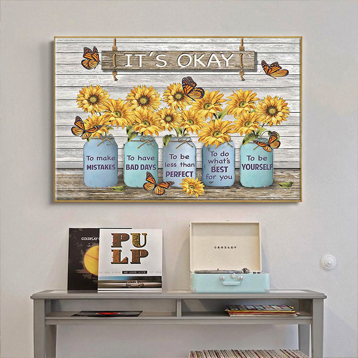 Butterfly sunflower it's okay to make mistakes canvas