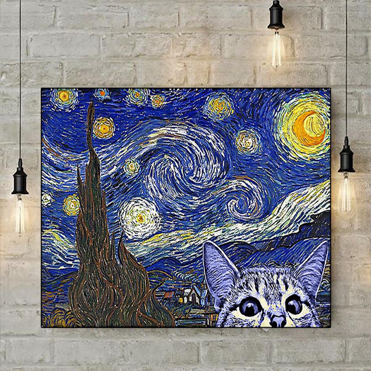 Cat kitten starry night poster A2