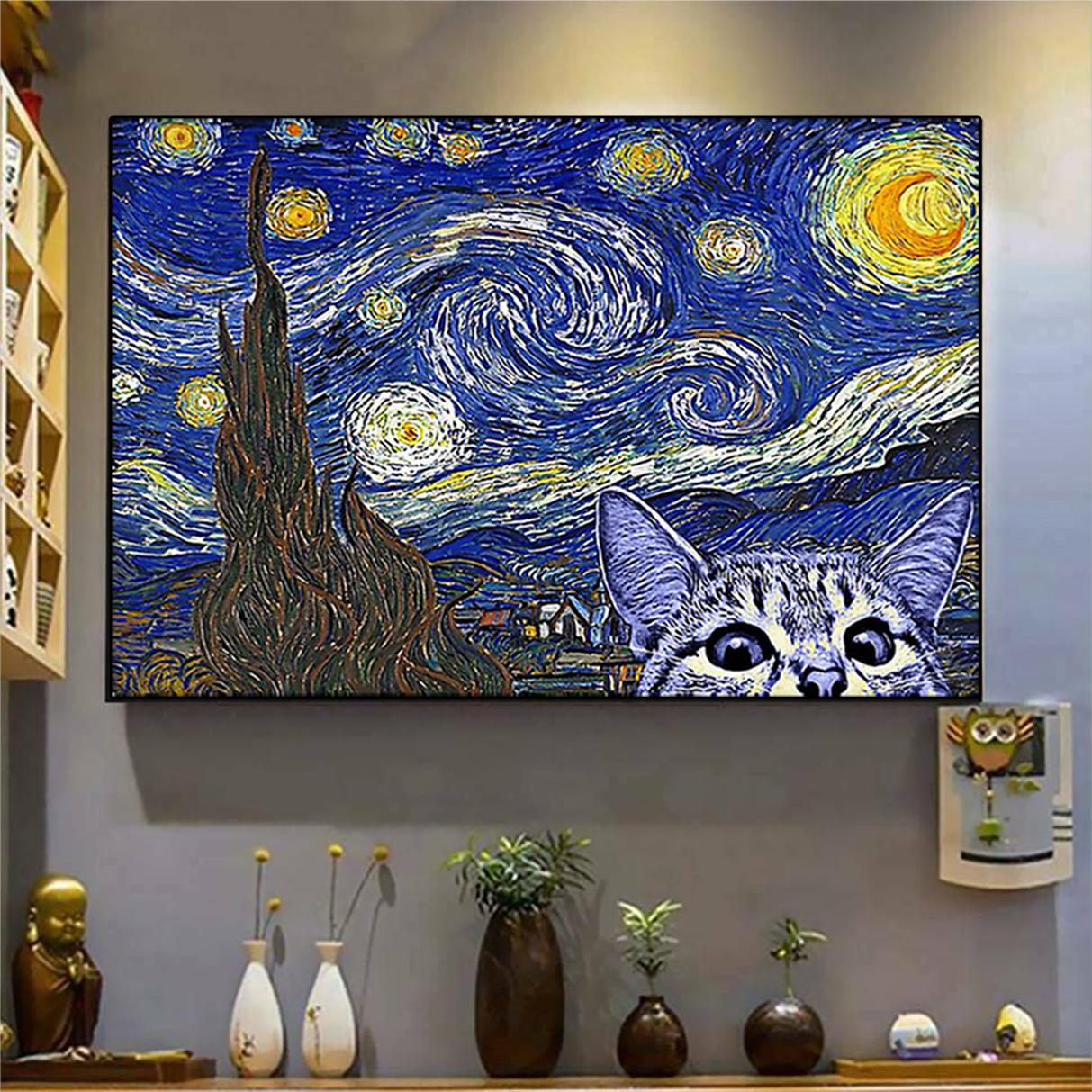 Cat kitten starry night poster A3