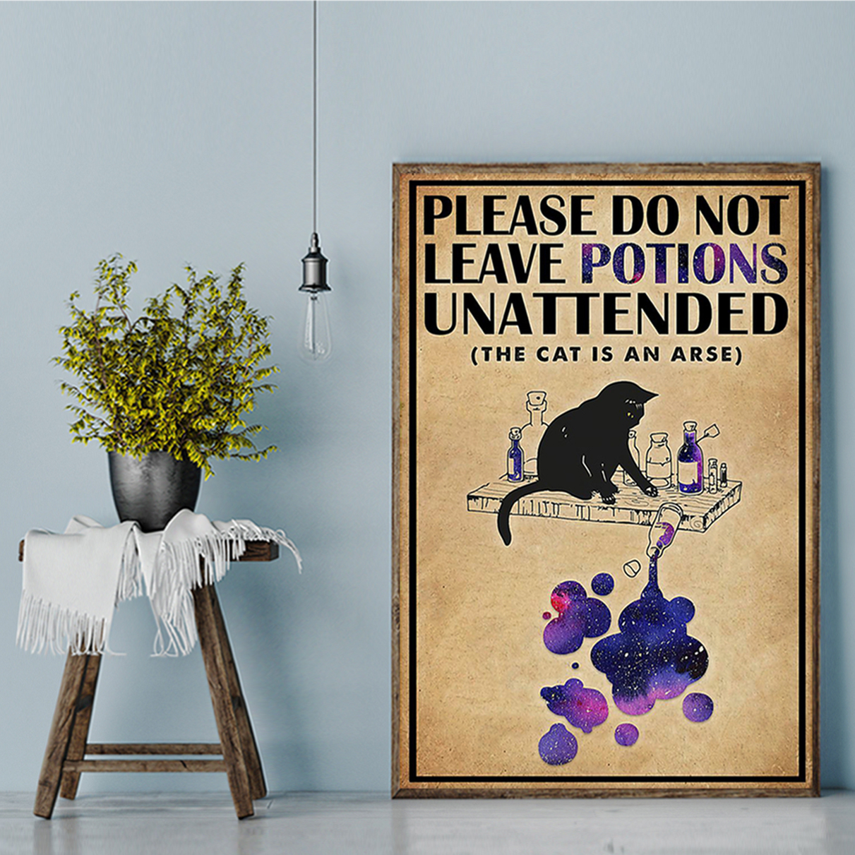 Cat please do not leave potions unattended poster A3