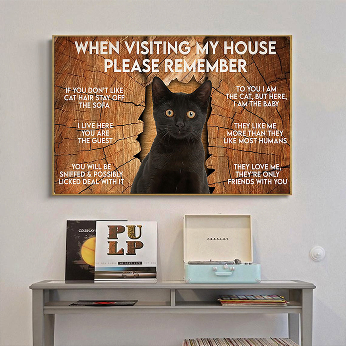 Cat when visiting my house please remember poster A3