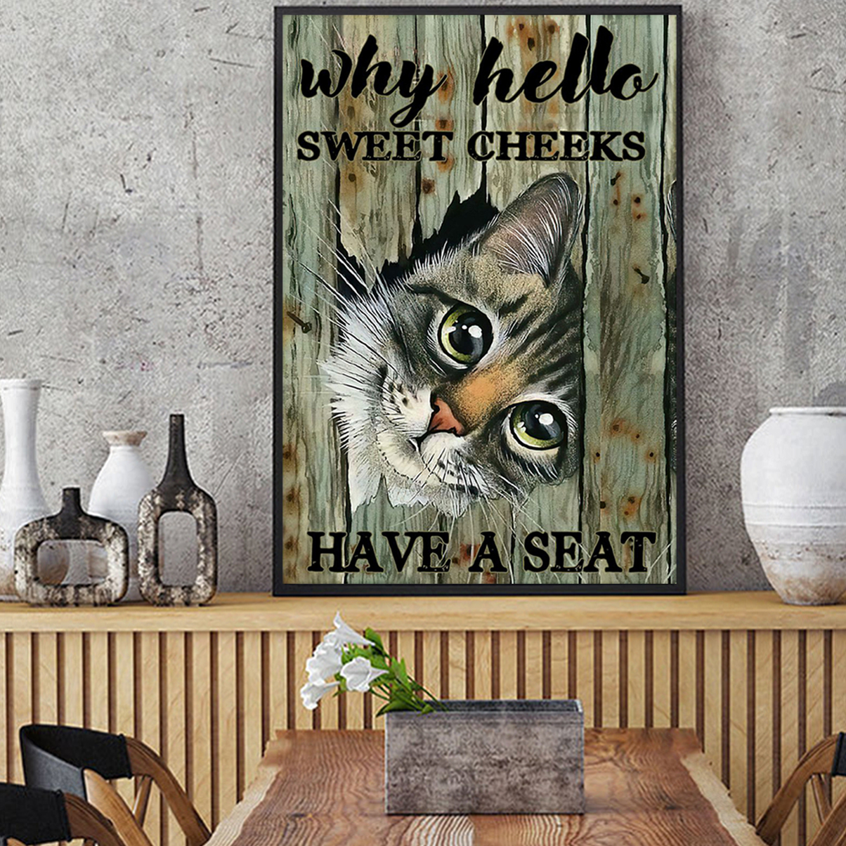 Cat why hello sweet cheeks have a seat poster A2