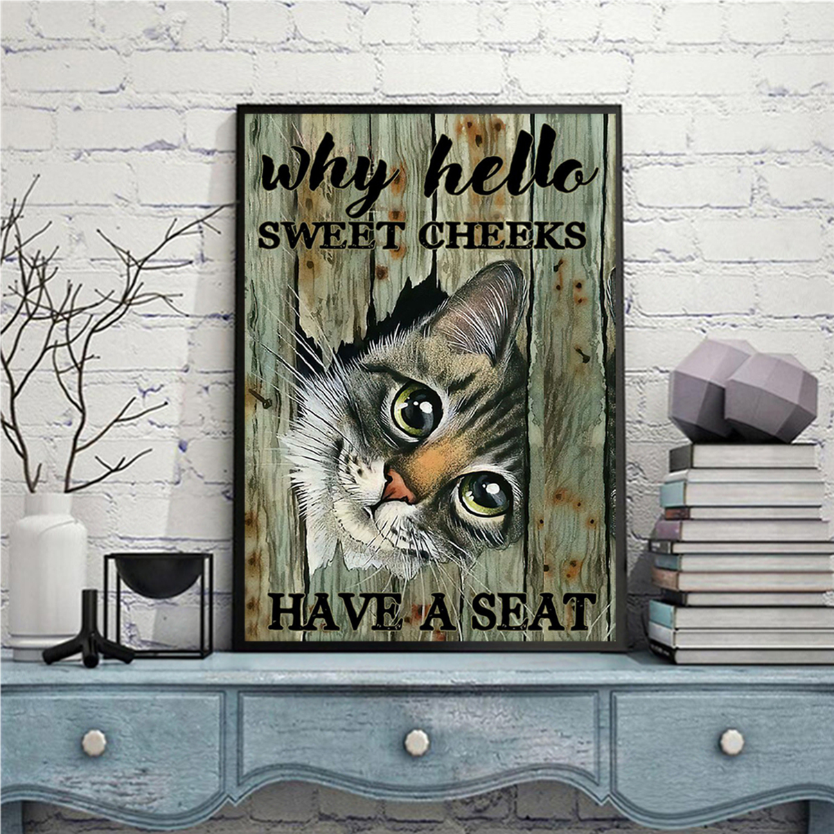 Cat why hello sweet cheeks have a seat poster A3