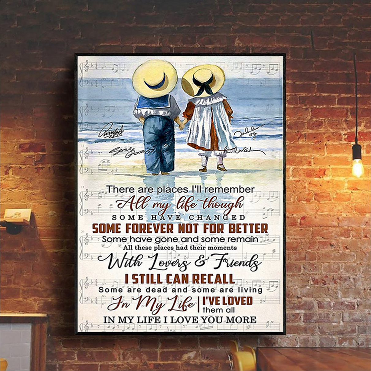 Children couple There are places I'll remember all my life through poster A1