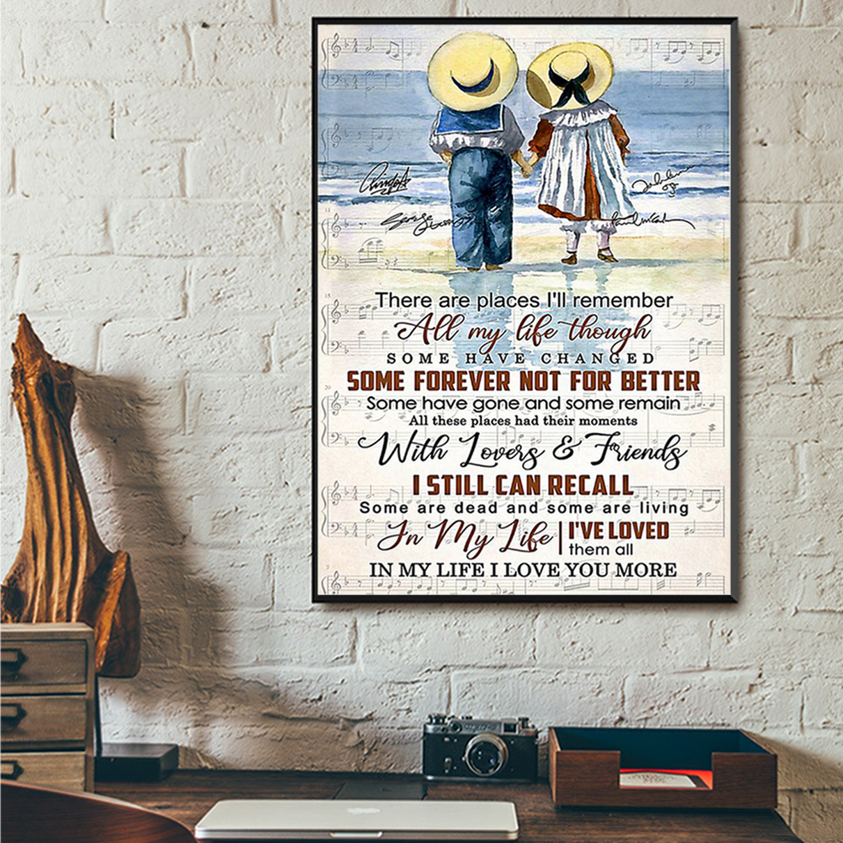 Children couple There are places I'll remember all my life through poster A2