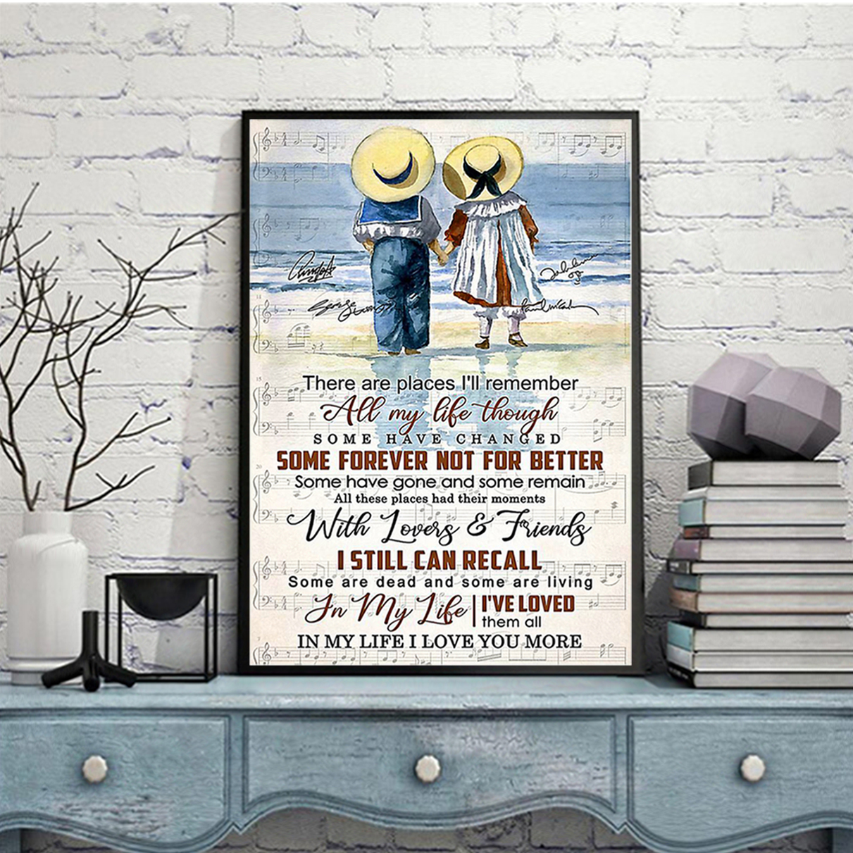 Children couple There are places I'll remember all my life through poster A3